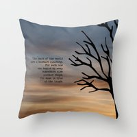 literary Throw Pillows featuring Waiting for Godot, Samuel Beckett – literary art by pithyPENNY