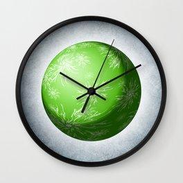 Green snowflake Sphere Wall Clock