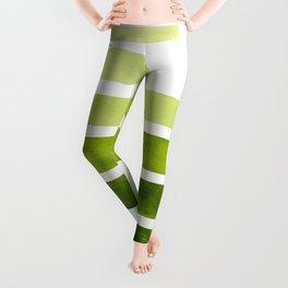 Sap Green Midcentury Modern Minimalist Staggered Stripes Rectangle Geometric Pattern Watercolor Art Leggings