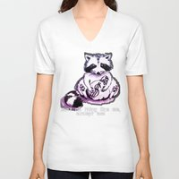 rocket raccoon V-neck T-shirts featuring What's raccoon? by Kasia Zajczyk