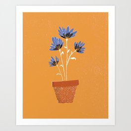 blue flowers on orange background Art Print