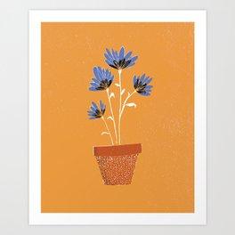 blue flowers on orange background Art Print
