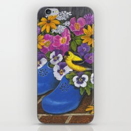 Goldfinch and Blue Garden Clogs iPhone Skin