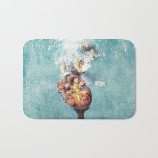 LOVE - Heart On Fire Bath Mat