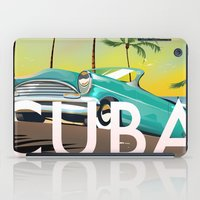 travel poster iPad Cases featuring Cuba vintage travel poster print by Nick's Emporium Gallery