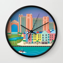 Nassau, Bahamas - Skyline Illustration by Loose Petals Wall Clock