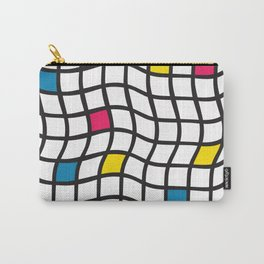 Grid pattern black white yellow blue red. Irregular plaids contemporary design. Carry-All Pouch