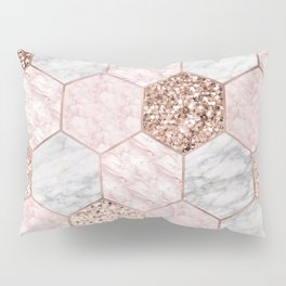 Rose gold dreaming - marble hexagons Pillow Sham