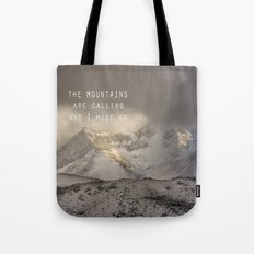 The Mountains are calling, and I must go.  John Muir. Vintage. Tote Bag