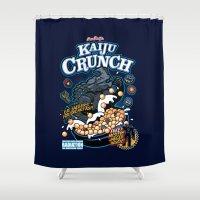 kaiju Shower Curtains featuring Kaiju Crunch by Matt Dearden