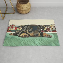 Doberman Puppy Protecting the 027 Railroad Rug
