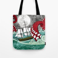 kraken Tote Bags featuring Kraken by Beth Naeyaert