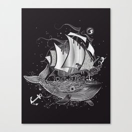 Great white whale and a sailing ship Canvas Print