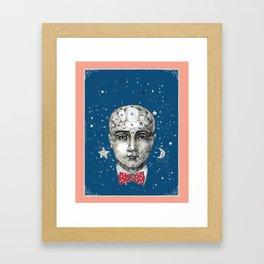 Phrenology head with bow tie. Framed Art Print