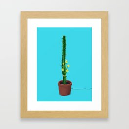Cactus with fairy lights and daffodils Framed Art Print