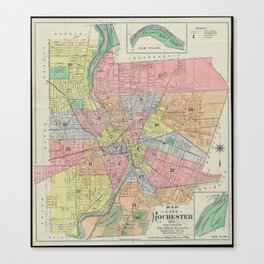 Vintage Map of Rochester NY (1901) Canvas Print