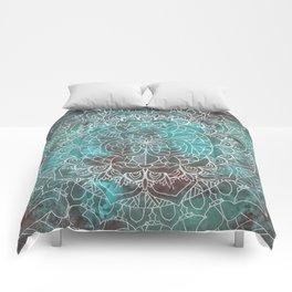 Rusty Cyan Red Mandala Design Comforters