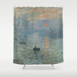 Impression Sunrise Painting by Claude Monet Shower Curtain