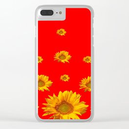 FLOATING GOLDEN YELLOW SUNFLOWERS RED COLOR Clear iPhone Case