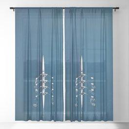 Classic Blue Teamwork   Aerial Print Sheer Curtain