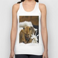 shiba inu Tank Tops featuring Red Shiba Inu Puppy by Blue Lightning Creative