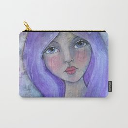 Purple Hair Whimiscal Girl Carry-All Pouch