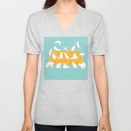 Cute Cats on Yellow Couch | Blue Unisex V-Neck