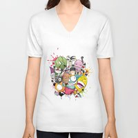 doodle V-neck T-shirts featuring Doodle by Flavio Augusto Maidl