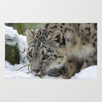 snow leopard Area & Throw Rugs featuring Snow Leopard by PICSL8