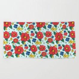 Vintage Red Flowers - Blue Beach Towel