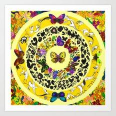 Floral Butterflies - Lemon Yellow Art Print