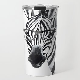 Zebra with glasses, black and white Travel Mug