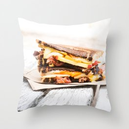 Grilled Cheese with Bacon Throw Pillow