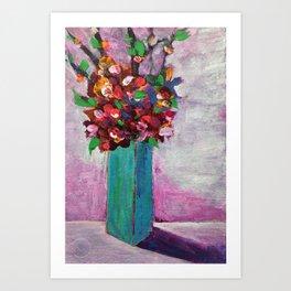 Teal vase Art Print