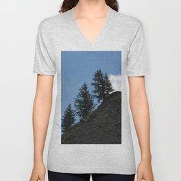 Fir Trees on Mountain Slope White Cloud Unisex V-Neck