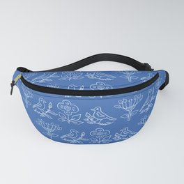 Tiny Floral Birds on Branch Seamless Pattern Fanny Pack