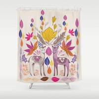 Fall in Love with Fawns Shower Curtain