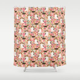 Beagle florals cute pet portrait pattern garden spring summer dog lover pet gift dog art fur baby Shower Curtain