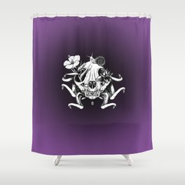 The Skull the Flowers and the Snail Shower Curtain