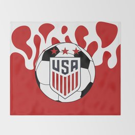 United States Soccer Throw Blanket