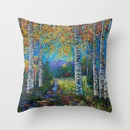 Nocturne Blue - Palette Knife Throw Pillow