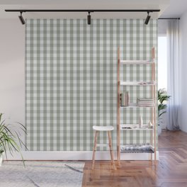 Desert Sage Grey Green and White Gingham Check Wall Mural
