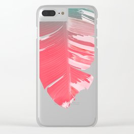 Dreamy Salmon Pink Tropical Banana Leaves Clear iPhone Case