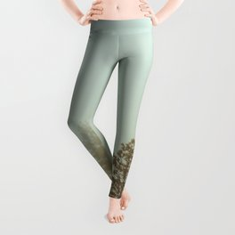 Pastel Green Adventure Forest Nature Photography Leggings