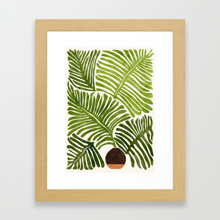 Summer Fern / Simple Modern Watercolor Framed Art Print