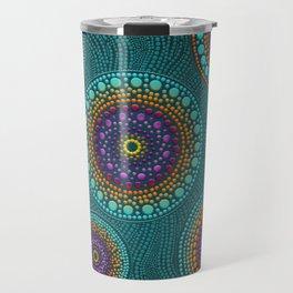 Dot Art Circles Teals and Purples #2 Travel Mug