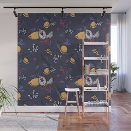 Lemon&raspberry in trendy ultraviolet color Wall Mural