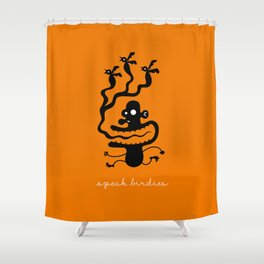 Speak Birdies Shower Curtain
