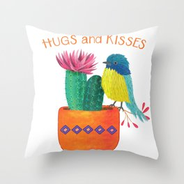 Bird with cactus: hugs and kisses Throw Pillow
