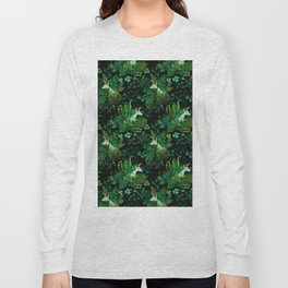 Irish Unicorn in a Garden of Green Long Sleeve T-shirt